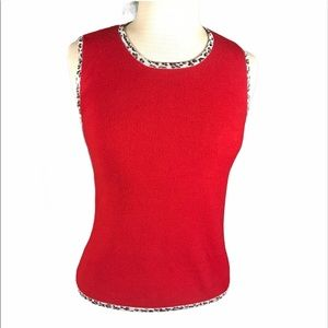 Lipstick Red Shell with Leopard Edging Smooth fit